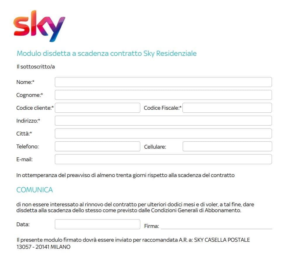 Come fare disdetta Sky