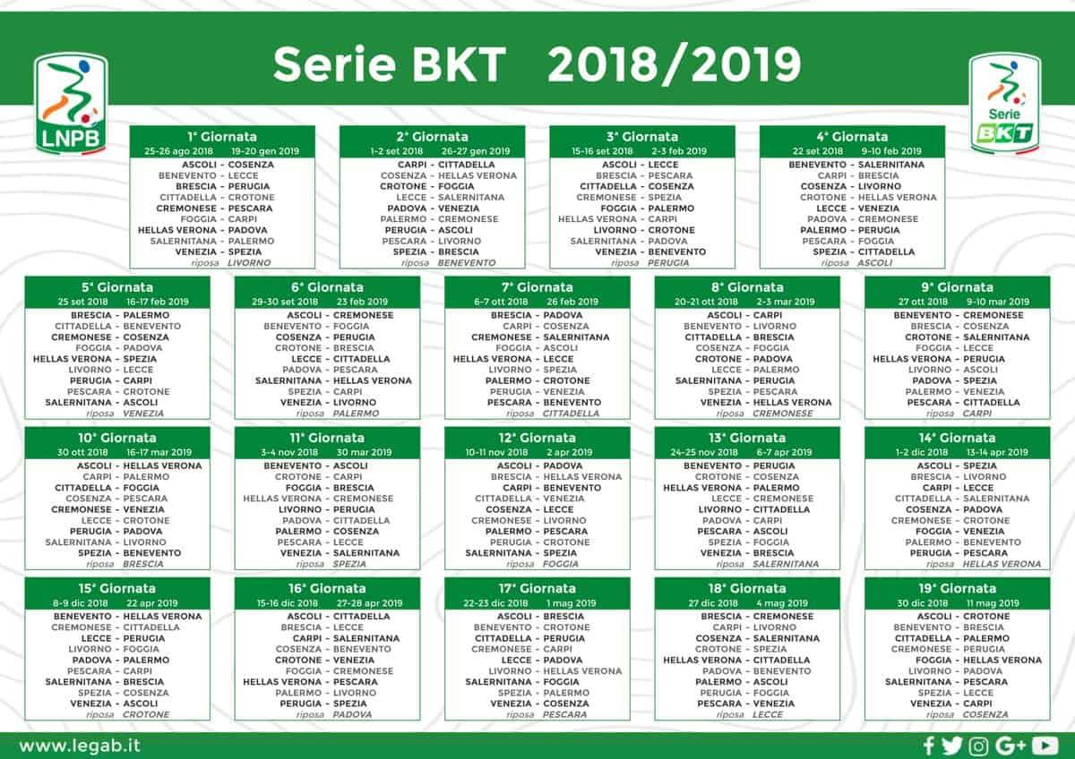 calendario serie b 2018-19